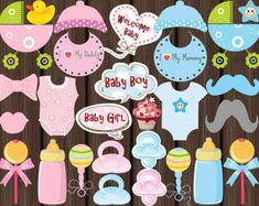 BRICOLAJE para imprimir bebé ducha foto stand por onesweetparty
