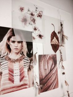 Vosgesparis: Moodboards | Feathers & Nomad details, fashion (Inspiration board/mood board/picture wall, artist studio/office.)