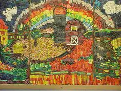 What to do with all of those leftover crayons? Make a Mosaic Mural! This amazing was done about 25 years ago at Kelli's school. That teacher has since retired, but we think the crayons are glued directly to plywood panels with good old Elmer's Glue. Old Crayon Crafts, Crayon Art, Crayon Ideas, Group Art Projects, School Art Projects, Fair Projects, Elementary Art Lesson Plans, Recycled Art Projects, School Murals