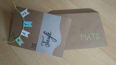 DIY - Selbstgemachte Karte zur Taufe - mit Wimpelkette und Namen + Handlettering Schriftzug