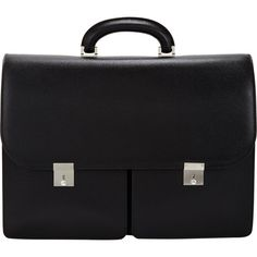 Valextra Men's Two-Pocket Briefcase (66,055 MXN) ❤ liked on Polyvore featuring men's fashion, men's bags, men's briefcases, bags, black and mens briefcase
