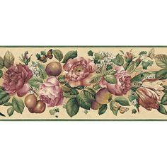 Large Floral Wallpaper Border, Beige