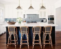 French cafe counter stools by TK Collections - Casa de Palma at Watersound Beach looked a lot like this! perfect beach house and perfect home!