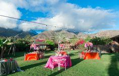 Sky Dweller Maui Wedding pink orange reception decor