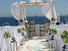 White and green set up Wedding Ceremony, Wedding Venues, Algarve, The Rock, Table Decorations, Lady, Green, Home Decor, Wedding Reception Venues