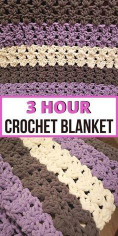Bernat Blanket Patterns, Crochet Baby Blanket Free Pattern, Crochet Stitches Patterns, Afghan Patterns, Simple Crochet Blanket, Crochet Ripple, Crochet Afghans, Crochet Blanket Tutorial, Crochet For Beginners Blanket