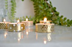s 21 reasons we re not over washi tape just yet you shouldn t be either, crafts, It makes tea lights look instantly festive Citronella Candles, Tea Light Candles, Votive Candles, Tea Lights, Yankee Candles, Small Candles, Plastic Ware, Plastic Forks, Washi Tape Frame