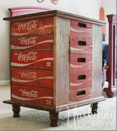 DIY night stands made from old Coca Cola crates in a rustic boys bedroom