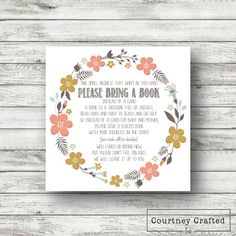 Instant Download Baby Shower Invitation Insert Please bring a