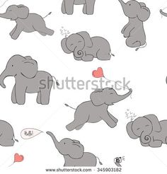 Cute and funny elephant seamless pattern. Pink and grey colors. Vector image.  Ideal for sites, brochures, logos, design, textile, banners etc  #pattern #seamless #vector #stock #background #shutterstock #scrapbooking #textile #paper #design #elephant #love #heart #sleep #cute