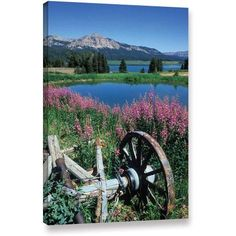 ArtWall Kathy Yates Old Wheel and Brooks Lake Gallery-wrapped Canvas, Size: 16 x 24, Blue
