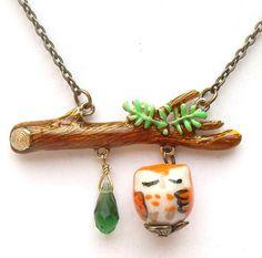 Antiqued Brass Branch Quartz  Porcelain Owl Necklace.