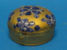 Antique Chamart Limoges Gilt Blue Trinket Box