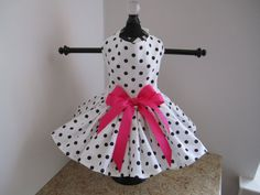Dog Dress XS White with Black Polkadots By Nina's Couture Closet