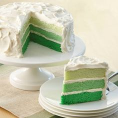 A showstopper for St. Patrick's Day celebrations - a layer cake in multiple hues of green inspired by fashion's color fade craze.