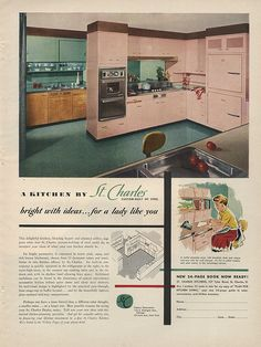 St. Charles steel cabinets in pink... vintage advertisement from ADSAUSAGE