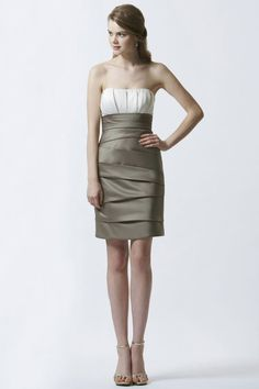 Strapless Knee Length Satin Pleating Sheath Column Bridesmaid/Wedding Guest Dress