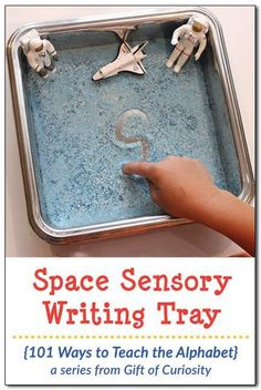 sensory writing tray Ways to Teach the Alphabet} Make this simple Space Sensory Writing Tray using colored salt and some space figurines. Great for practicing letters, numbers, and sight words! Space Theme Preschool, Fine Motor Activities For Kids, Eyfs Activities, Preschool Writing, Motor Skills Activities, Writing Activities, Preschool At Home, Moon Activities, Writing Skills