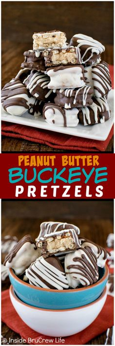 Peanut Butter Buckeye Pretzels - chocolate covered pretzels with a hidden peanut butter ball inside makes a great no bake treat.  Easy recipe for candy trays!