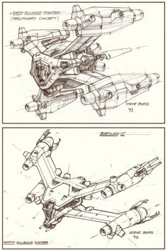 "Wow! This really is ""Ancient History"" !!! These are some concept sketches that I did for a television series - ""Babylon 5"" - in the early 1990s. I worked very closely with my friend Ron Thornton, w..."
