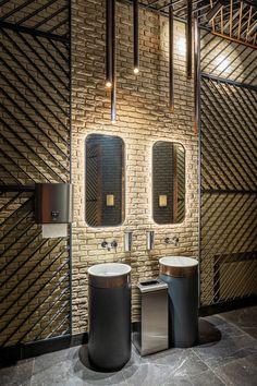 restaurant wall Fog Factory Restaurant by Znak design Wc Design, Toilet Design, Loft Design, Loft Interior, Restaurant Interior Design, Office Interior Design, Industrial Restaurant Design, Restaurant Oriental, Restaurant Bathroom