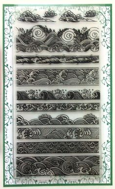 "Amazon.com: Ocean Waves Borders Clear Stamps Set (4""x7) Chinese Japan Vintage Retro Style: Arts, Crafts & Sewing"