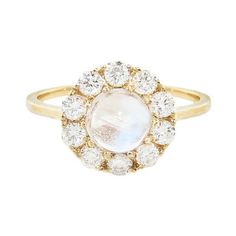 Lori McLean Lofted Moonstone and Diamond Cluster Ring ($3,510) ❤ liked on Polyvore featuring jewelry, rings, gold, 14k jewelry, thin gold band ring, polish jewelry, gold band ring and 14 karat gold jewelry