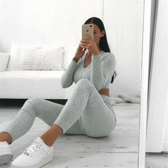 Toplook Women's Two Piece Sets V-neck Long Sleeve 2019 Sexy Crop Tops Pants Autumn Feminine Matching Sets Streetwear Tracksuits Lounge Outfit, Lounge Wear, Rompers Women, Jumpsuits For Women, Clubwear, Terno Casual, Origin Clothing, Drape Pants, Crop Top Set