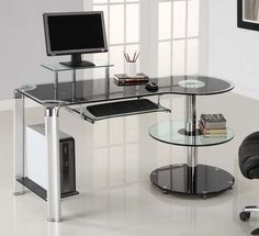 glass computer desks | Desks4Computers: Black Glass Round Storage Computer Desk