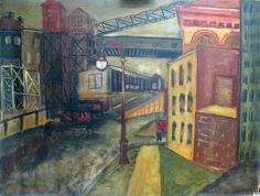 """New York City off 30th Street,"" Louise Nevelson, ca. 1934, oil on board, Farnsworth Art Museum."