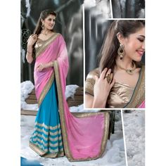 Buy Online Casual Sarees, shari, Ethnic sarees, Blue and Pink Color, Chiffon Material, Saree, sari, partywear, kitty party wear for women. We have large range of Designer Chiffon Sarees in our website with the best pricing and unique designs shipping to (UK, USA, India, Germany, UAE, Canada, Singapore, Australia, Mauritius, New Zealand) world wide.
