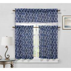 Duck River Geo Faux Linen 3 Piece Kitchen Curtain Set Navy - GEKNV=12 /12124