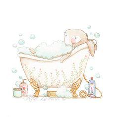 Ilustración infantil conejito en bañera
