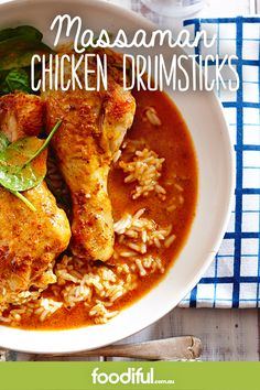 Serves 4 Now you can have massaman chicken curry at home using only 5 ingredients! Chicken Drumsticks Slow Cooker, Hoisin Chicken, Chicken Curry, Moroccan Chicken, Honey Mustard, Dinner Tonight, Ethnic Recipes, Food, Essen