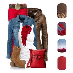 """""""Red Pants"""" ( Red, white blue & Brown the next time I wear my red pants). Colored Jeans Outfits, Red Pants Outfit, Winter Fashion 2014, Autumn Fashion, Fashion 2015, Only Fashion, Womens Fashion, Winter Stil, Fashion Pictures"""