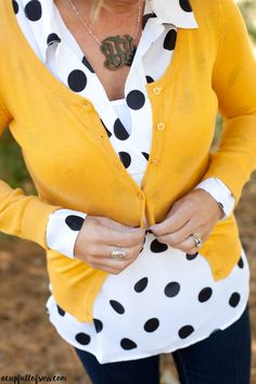 One of my favorite Fall Outfits. Mustard cardigan sweater with polka dot top. Monogram necklace.