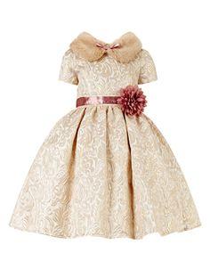 Reece Fur Collar Jacquard Dress | Gold | Monsoon #holiday #Christmas #girls