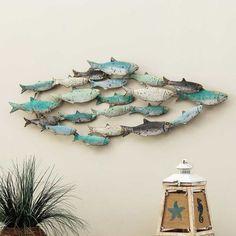 Bella Coastal Decor Distressed School of Fish Wall Art Fish Wall Decor, Fish Wall Art, Fish Art, Ceramic Wall Art, Wooden Wall Art, Metal Wall Art, Metal Fish, Wood Fish, Fish Sculpture