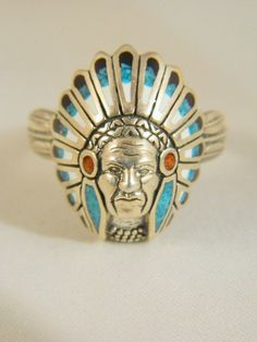 Native American Chief Head Ring / Vintage Men's Indian Sterling Silver Ring /Turquois, Onyx and Coral Southwestern Huge Ring / Size 13.75 by VintageBaublesnBits