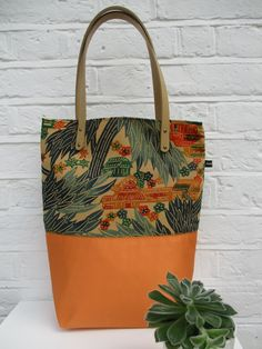 Tote - bag made from vintage silk kimono and obi fabric in orange and green. by Jasuin on Etsy