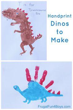 Fun dinosaur craft for kids - handprint dinosaurs to make! T-Rex, Stegosaurus, and Brachiosaurus