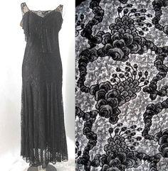 Vintage 20s 30s Black Chantilly Lace Evening Gown Dress Art Deco Silk Flapper M