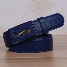 Factory Outlet 2015 nouvelle marque de haute qualité Crocodile boucle automatique ceintures hommes d'affaires décontractée en cuir de luxe ceinture(China (Mainland))