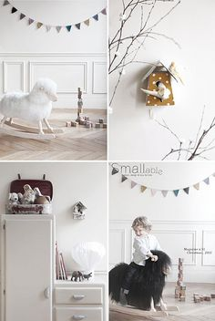Cute white little child room
