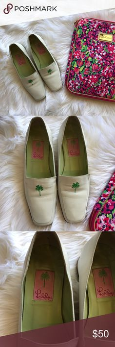 Lilly Pulitzer Palm 🌴 Beach White Leather Loafer White leather loafers with embroidered palm 🌴 tree logo. Low leather heel. Leather soles. Made in Italy. Lilly Pulitzer Shoes Flats & Loafers