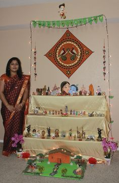 The Navratri Golu can be kept between three and nine days, and the assembly of dolls is worshipped twice each day. Lowe's Home Improvement Store, Navratri Puja, Janmashtami Decoration, Diy And Crafts, Arts And Crafts, Wood Nails, Wedding Gift Wrapping, Doll Display, Indian Festivals
