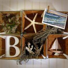 Charming Beach Themed Collage Wall Decor Art Made With Vintage Wood Berry Baskets