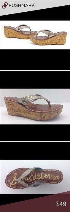 """Sam Edelman Romy Cork Wedges Gold Lizard Leather Adorable cork & wood wedges with leather light gold (matte, not super shiny) lizard pattern top straps. Signature Sam Edelman padded leather foot bed. Excellent condition. Size 9 true to size. Platform is about 2 1/2"""". Sam Edelman Shoes Sandals"""