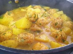 Chicken Meatballs In Yellow Sauce, One of my favorite dishes to make is meatballs in yellow sauce with herbs. I add potatoes, serve it with white rice. How To Cook Meatballs, Chicken Meatballs, Chicken Recepies, Israeli Food, Yummy Food, Tasty, Fresh Herbs, Food And Drink, Cooking Recipes