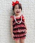 Baby Minnie Mouse Red Polka Dots Black Satin Lace Petti Posh Romper 6-24M RST23